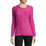 St. John's Bay® Long-Sleeve Marled Cable Sweater