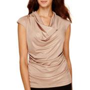 Worthington® Cap-Sleeve Side-Ruched Top - Petite