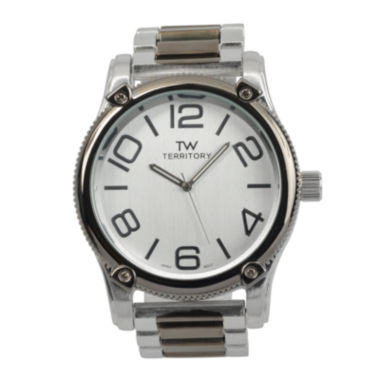 jcpenney.com | Territory Mens Textured Bezel Stainless Steel Watch