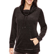 Made For Life™ Velour Metallic-Striped Cowlneck Tunic
