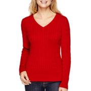 St. John's Bay® Long-Sleeve Cable V-Neck Sweater