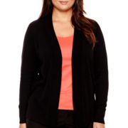 Worthington® Essential Long-Sleeve Open-Front Cardigan Sweater - Plus