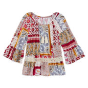 Beautees Lace-Trimmed Peasant Top - Girls 7-16