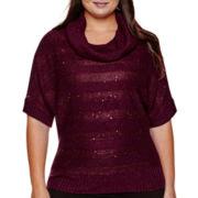 Alyx® Elbow-Sleeve Lurex® Metallic-Striped Sweater - Plus