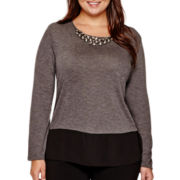 Alyx® 3/4-Sleeve Embellished-Neck Knit Top - Plus