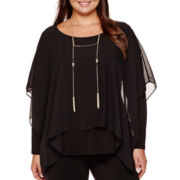 Alyx® Long-Sleeve Chiffon Overlay Necklace Knit Top - Plus