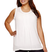 a.n.a® Raw-Edge Pintuck Tank Top - Plus
