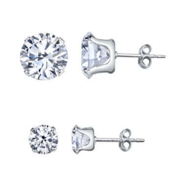 jcpenney.com | Silver Treasures 2-pc. White Cubic Zirconia Sterling Silver Earring Sets