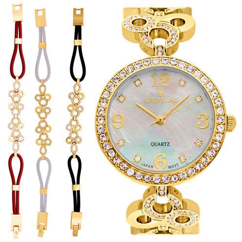 Croton Womens Gold Tone 4-pc. Watch Boxed Set-Cn407567ylmp