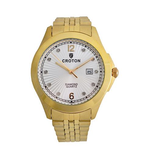 Croton Mens Gold Tone Bracelet Watch-Cn307562ylsd