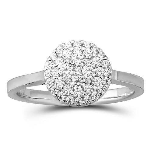 Womens 1/4 CT. T.W. Genuine White Diamond 14K Gold Cluster Ring