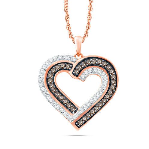 Womens 1/3 CT. T.W. White Diamond 10K Gold Pendant Necklace