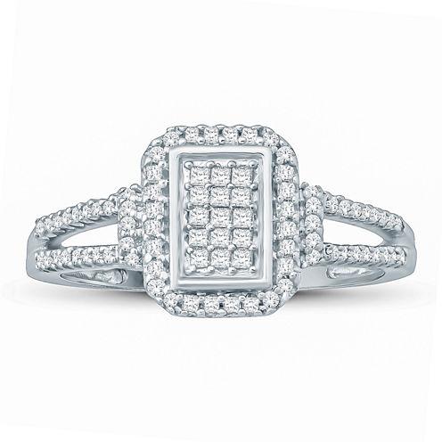 Womens 1/3 CT. T.W. Princess White Diamond 10K Gold Engagement Ring