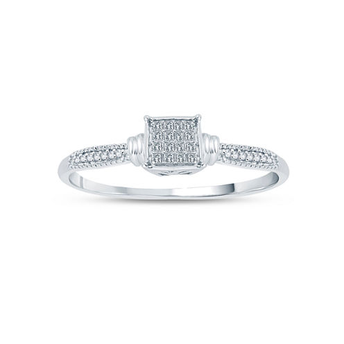 Womens 1/6 CT. T.W. Princess White Diamond 10K Gold Engagement Ring