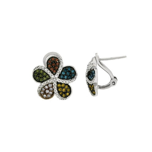 1/2 CT. T.W. Round Multi Color Diamond Sterling Silver Stud Earrings