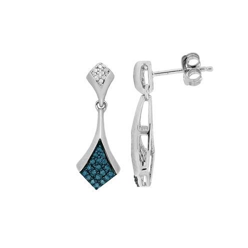 1/5 CT. T.W. Blue Diamond Sterling Silver Drop Earrings
