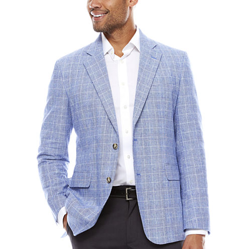 Stafford® Bright Blue Plaid Linen-Cotton Sport Coat - Classic Fit