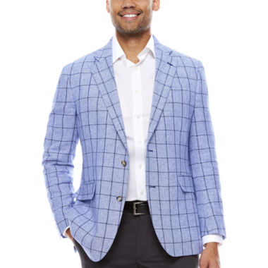 jcpenney.com | Stafford Linen Cotton Blue Windowpane Sport Coat- Classic Fit
