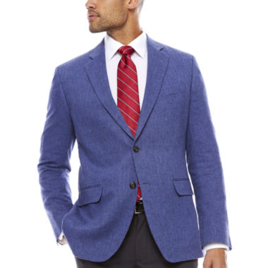 jcpenney.com | Stafford Linen Cotton Mid Blue Herringbone Sport Coat- Classic Fit