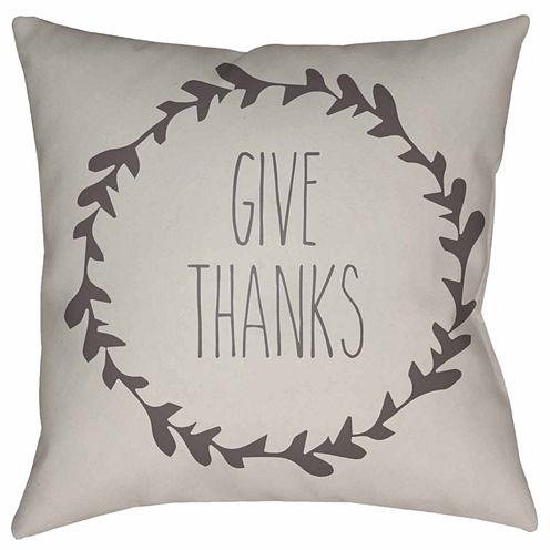 Decor 140 Wreath Of Thanks Square Throw Pillow