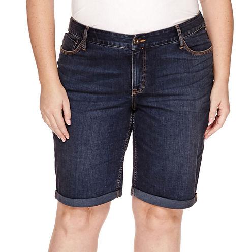 St. John's Bay® Denim Bermuda Shorts - Plus