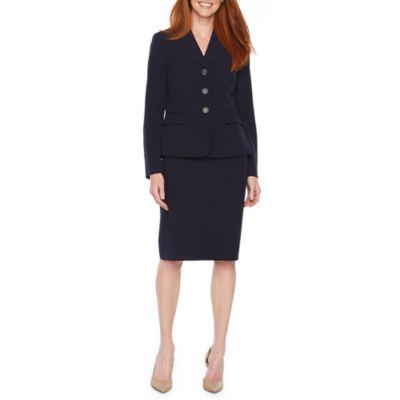 LeSuit Womens 3 Button Notch Collar Mini Diamond Jacquard Pleat Skirt Suit Suit-Skirt Set