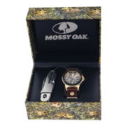 Mossy Oak® Mens Knife and Brown Leather Watch Set