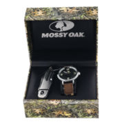 Mossy Oak® Mens Knife and Brown/Black Leather Watch Set