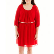 By & By Elbow-Sleeve Chiffon Belted Dress - Plus