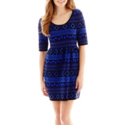 Take Out 3/4-Sleeve Sweater Skater Dress