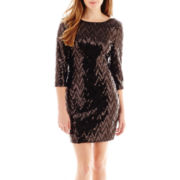 Love Reigns 3/4-Sleeve Chevron Sequin Dress