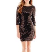 Love Reigns 3/4-Sleeve Chevron Sequin Dress