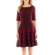 J. Taylor Elbow-Sleeve Fit-and-Flare Dress