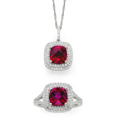 jcpenney.com | Lab-Created Ruby & White Sapphire Sterling Silver Pendant Necklace and Ring Set