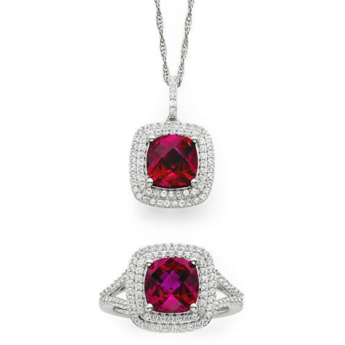 Lab-Created Ruby & White Sapphire Sterling Silver 2-pc. Boxed Jewelry Set