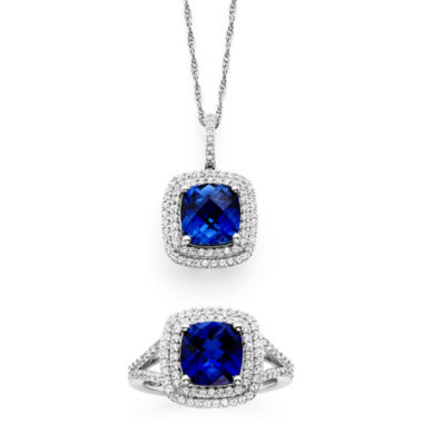 jcpenney.com | Lab-Created Blue & White Sapphire Sterling Silver Pendant Necklace and Ring Set