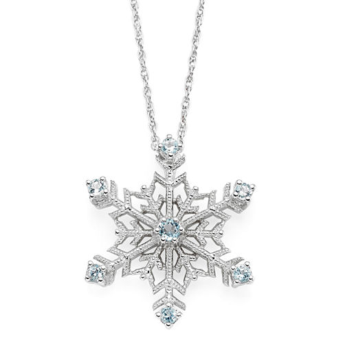 Color-Enhanced Swiss Blue Topaz Snowflake Pendant Necklace