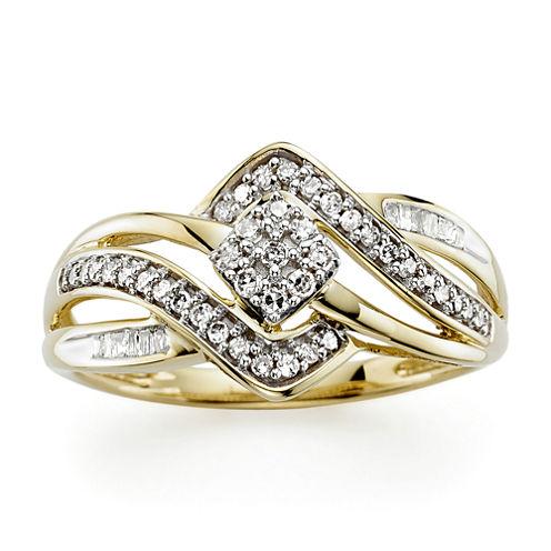 1/4 CT. T.W. Diamond 10K Yellow Gold Bypass Ring