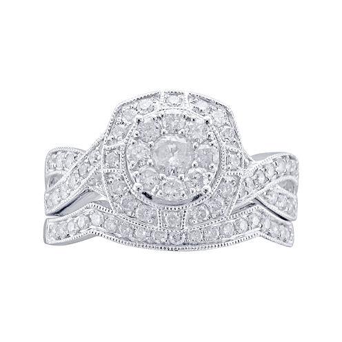 Cherished Hearts™ 1 CT. T.W. Diamond 14K White Gold Milgrain Bridal Ring Set
