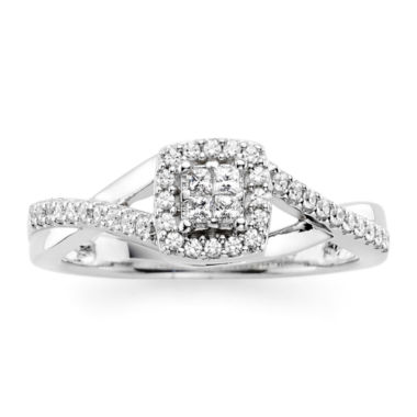 jcpenney.com | 1/10 CT. T.W. Diamond 10K White Gold Princess-Cut Quad Promise Ring