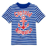 Okie Dokie® Short-Sleeve Striped Graphic Knit Tee – Boys 2t-6