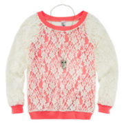 Knit Works Long-Sleeve Top, Tank and Necklace - Girls 7-16 and Plus