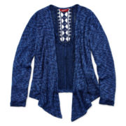 Arizona Long-Sleeve Crochet-Back Cardigan - Girls 7-16 and Plus