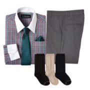 Steve Harvey® Shirt & Clip Tie, Deco Plaid Vest, IZOD® Pants or Gold Toe® Socks