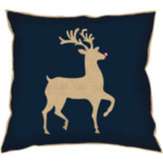 Red Nose Reindeer Decorative Pillow