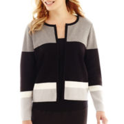 Liz Claiborne® Long-Sleeve Striped Sweater Jacket - Petite