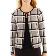 Liz Claiborne® Long-Sleeve Plaid Sweater Jacket - Petite