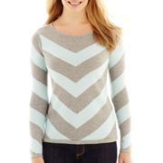 Liz Claiborne® Long-Sleeve Chevron Sweater - Petite
