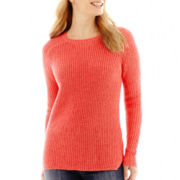Liz Claiborne® Long-Sleeve Ribbed High-Low Sweater - Petite