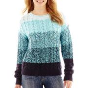 Liz Claiborne® Long-Sleeve Marled Ombré Sweater - Petite